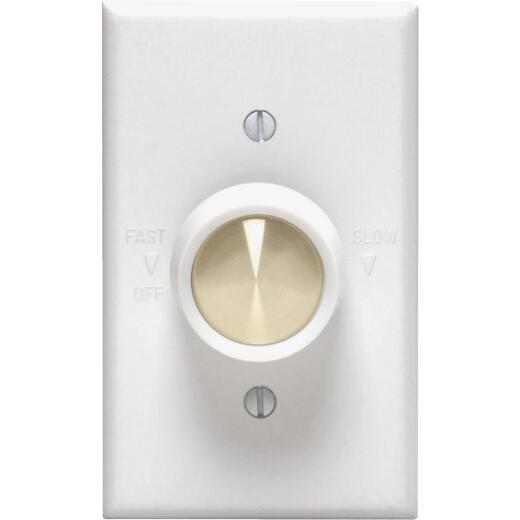 Leviton White Variable-Speed Rotary Fan Control Switch