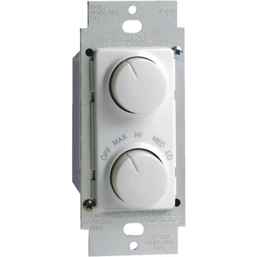Leviton White 4-Speed/Full Range Dimmer Single Pole Rotary Fan Control Switch